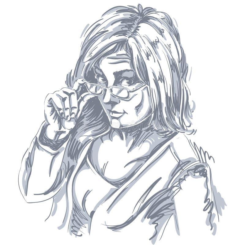 Dirigez le dessin d'art, portrait de fille magnifique avec des lunettes f illustration libre de droits