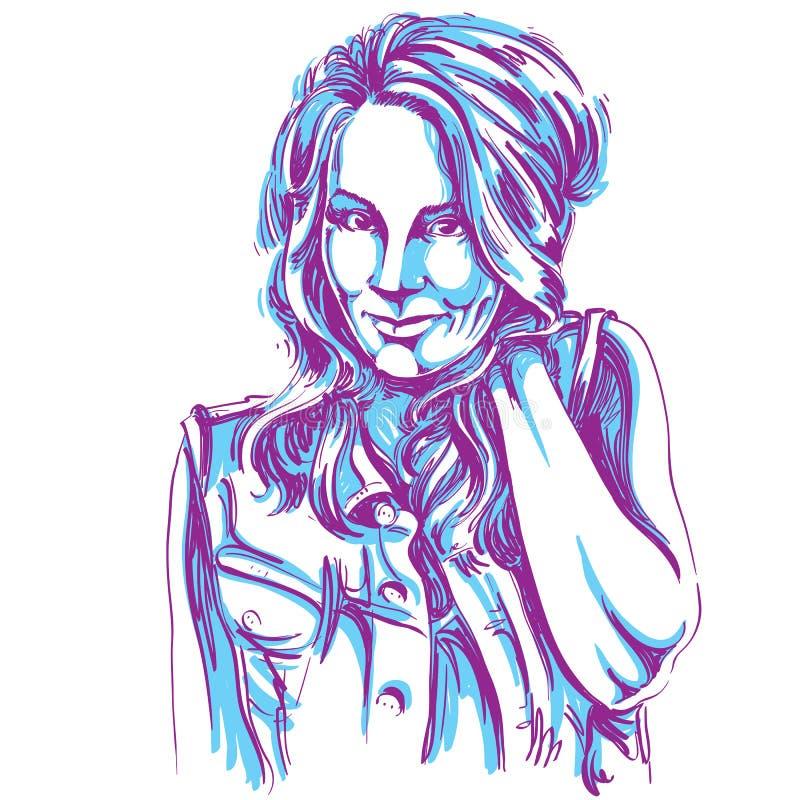 Dirigez le dessin d'art, portrait de la fille de flirt magnifique d'isolement illustration libre de droits