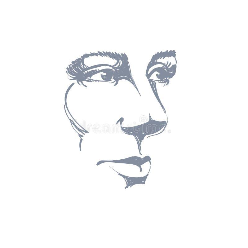 Dirigez le dessin d'art, portrait de la fille rêveuse magnifique d'isolement dessus illustration de vecteur