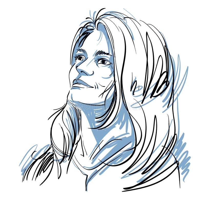 Dirigez le dessin d'art, portrait de la fille romantique magnifique d'isolement illustration libre de droits