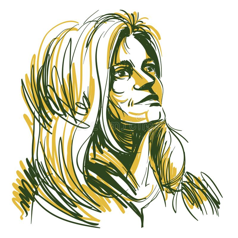 Dirigez le dessin d'art, portrait de la fille romantique magnifique d'isolement illustration de vecteur
