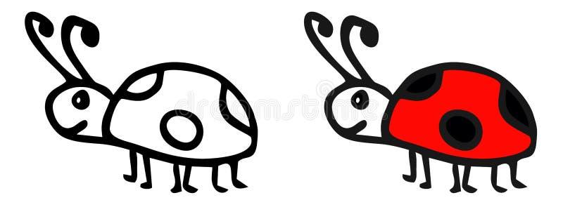Dirigez le dessin d'une coccinelle dans la puissance du griffonnage La bande dessinée de coccinelle illustration de vecteur