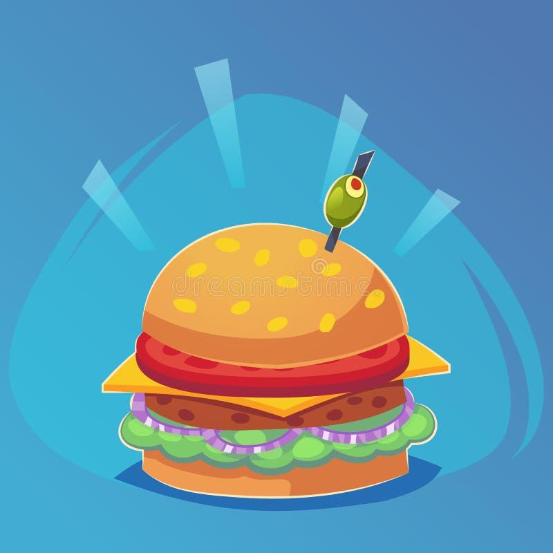 Dirigez le dessin de l'hamburger avec du fromage, tomates, côtelette, la laitue, oignon dans le style plat de bande dessinée Illu illustration libre de droits