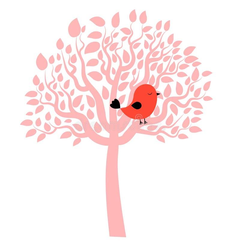 Dirigez le dessin du petit oiseau rouge été perché sur une attente rose d'arbre illustration libre de droits