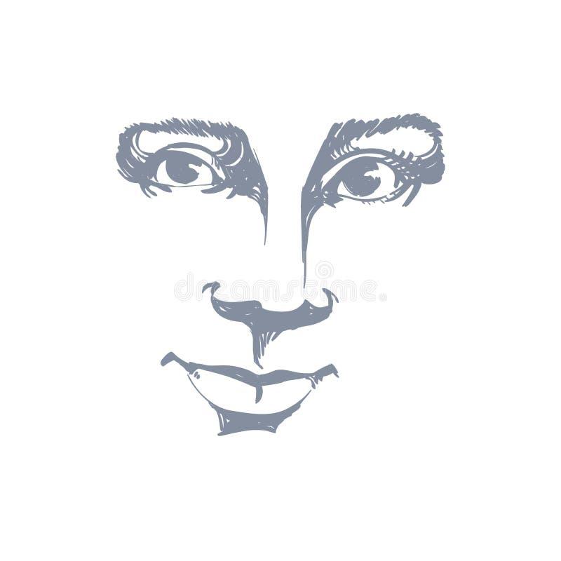 Dirigez le dessin monochrome d'art, portrait de fille rêveuse magnifique illustration stock