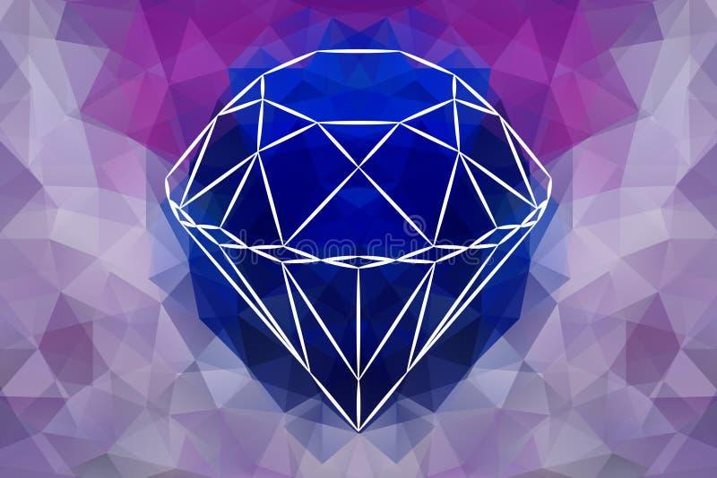 Dirigez le diamant abstrait de bijoux, forme géométrique de pierre gemme illustration de vecteur