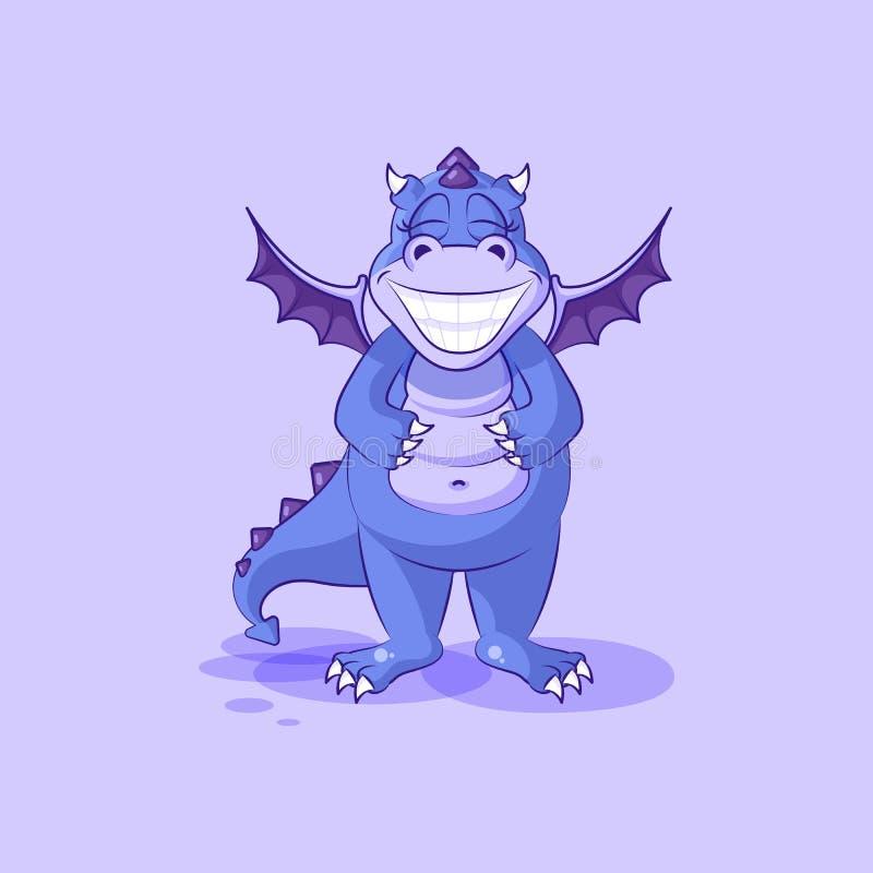 Dirigez le dinosaure de dragon de bande dessinée de caractère d'Emoji avec un sourire énorme illustration stock