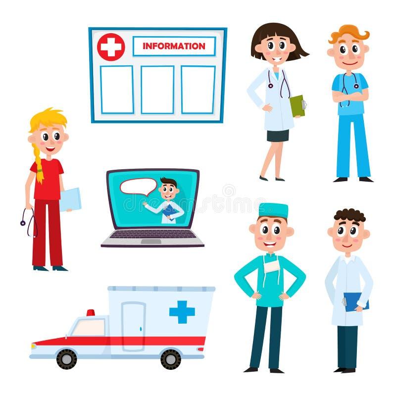 Dirigez le docteur plat, caractères de chirurgienne d'infirmière réglés illustration stock