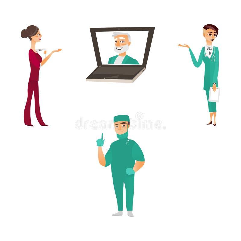 Dirigez le docteur plat, caractères de chirurgienne d'infirmière réglés illustration de vecteur