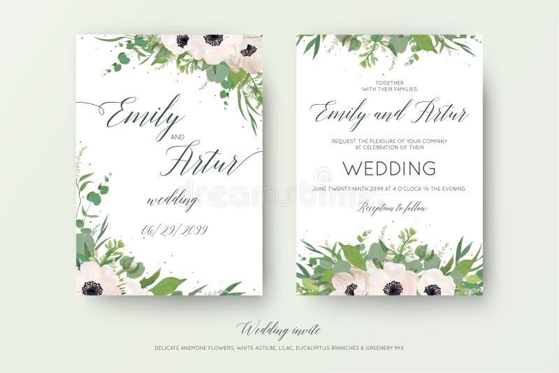Dirigez le double floral de mariage invitent, invitation, sauvent le design de carte de date avec les anémones roses mauve, branc illustration libre de droits