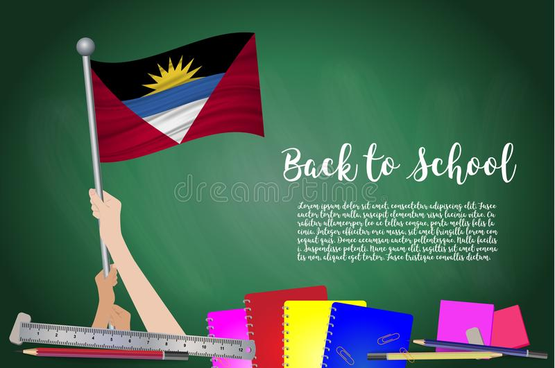 Dirigez le drapeau de l'Antigua-et-Barbuda sur le fond noir de tableau Fond d'éducation avec le support de mains de l'Antigua et  illustration de vecteur