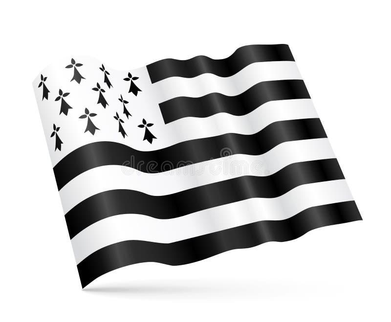 dirigez le drapeau de ondulation de gwen ha du 3d breton sur le fond blanc illustration de. Black Bedroom Furniture Sets. Home Design Ideas