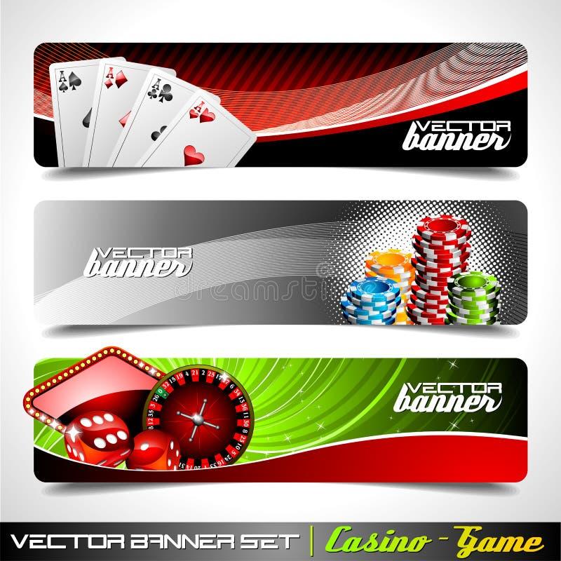 Dirigez le drapeau réglé sur un thème de casino. illustration de vecteur