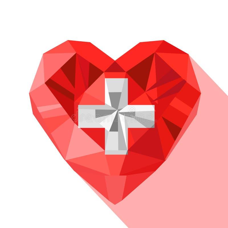 Dirigez le drapeau suisse en cristal de coeur de la Confédération helvétique illustration de vecteur
