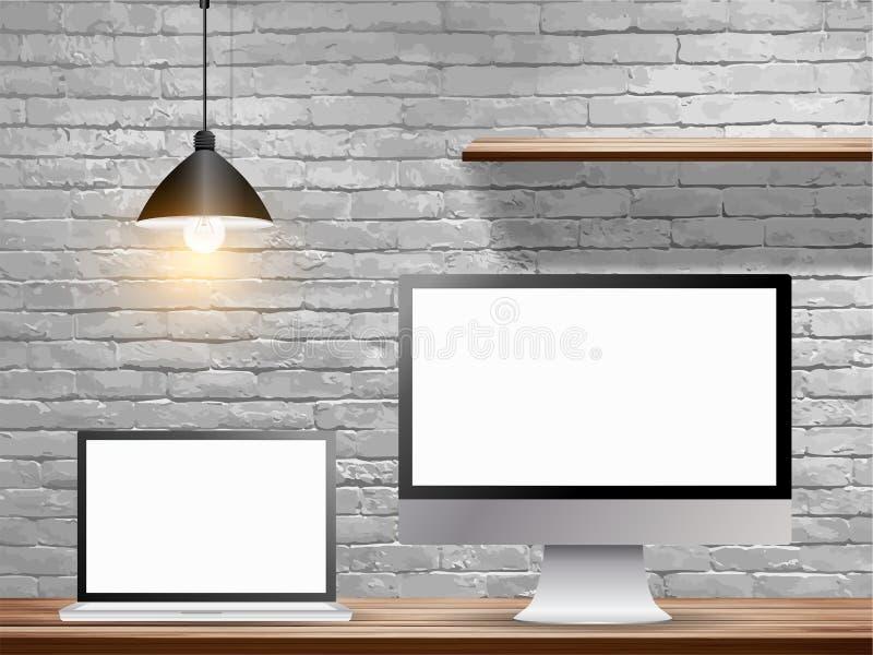 Dirigez le faux ordinateur portable haut avec le moniteur de bureau sur la table en bois illustration stock