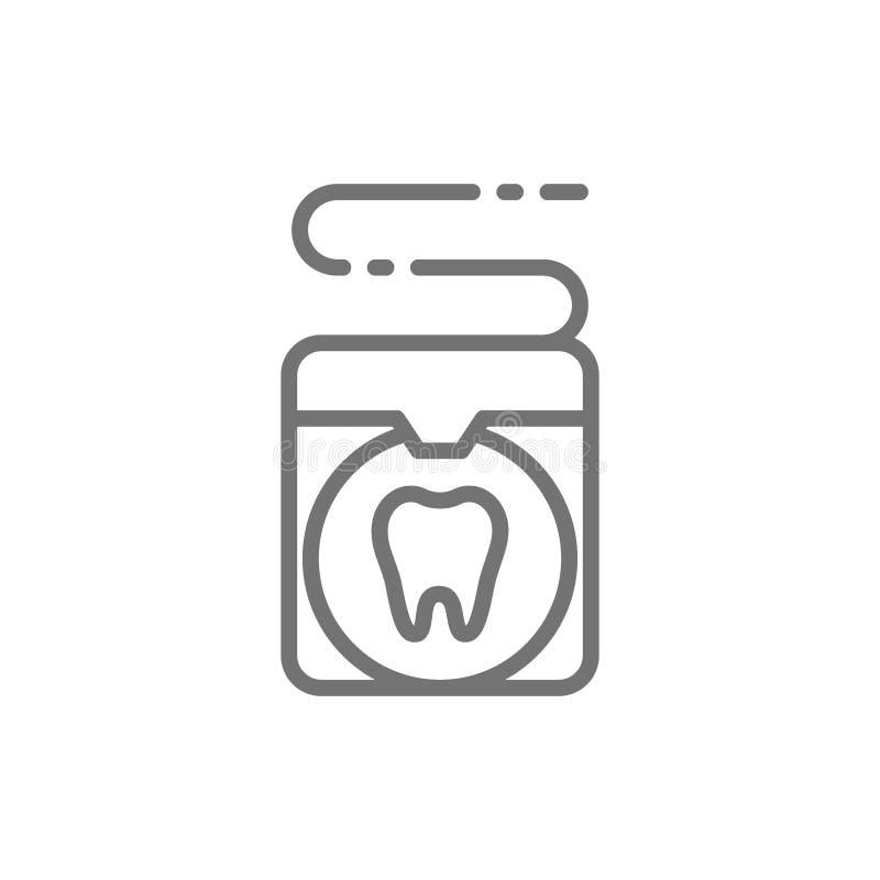Dirigez le fil dentaire, ligne icône de soin de dent illustration de vecteur