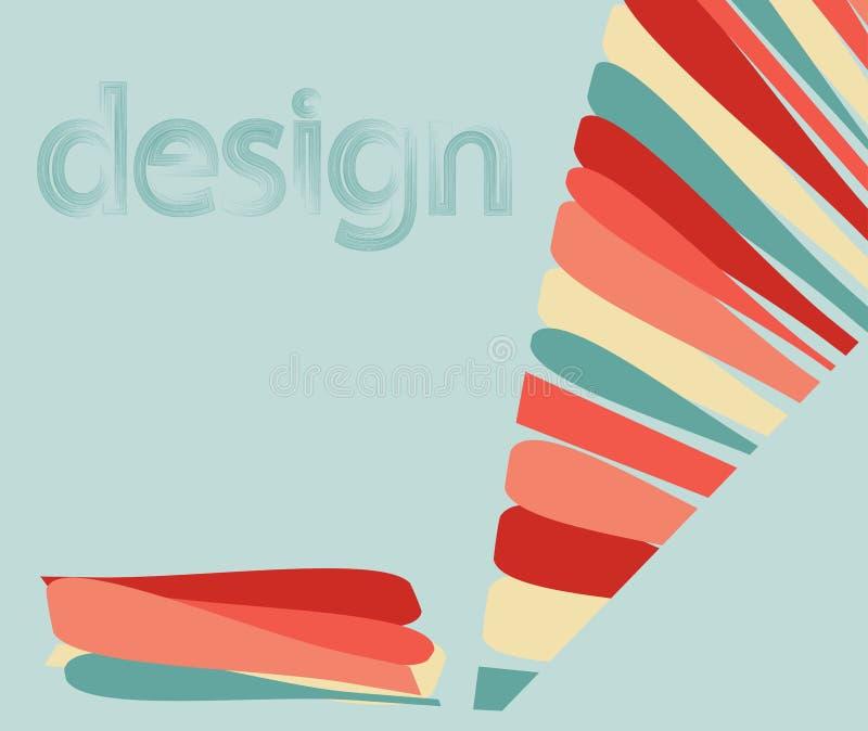 Dirigez le fond abstrait avec des mots colorés de lignes d'un crayon et de conception de lettrage illustration stock