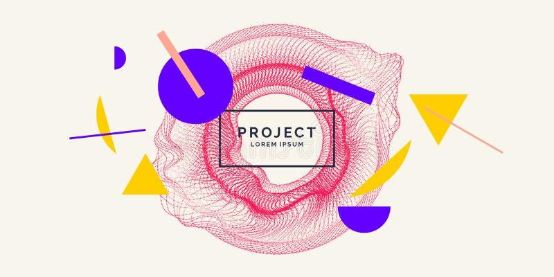 Dirigez le fond abstrait avec les vagues, la ligne et les particules dynamiques illustration stock