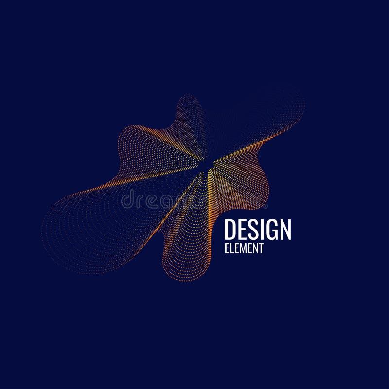 Dirigez le fond abstrait avec les vagues, la ligne et les particules dynamiques illustration de vecteur