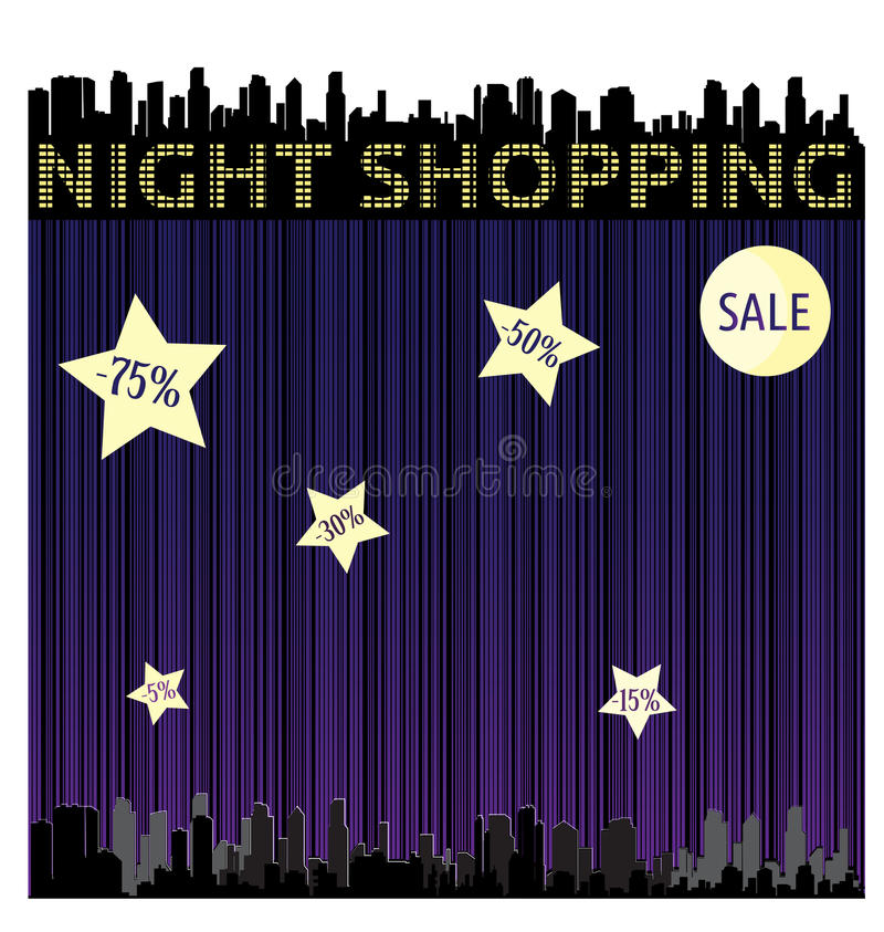 Dirigez le fond abstrait avec un code barres et la silhouette de la ville la nuit avec des étoiles illustration de vecteur