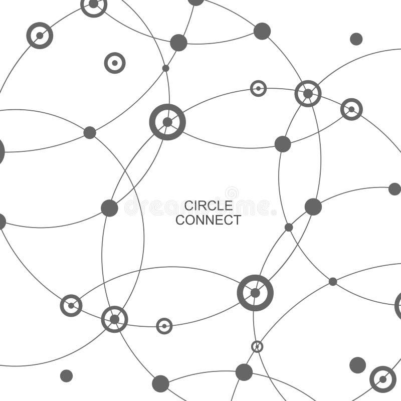 Dirigez le fond abstrait de technologie avec relient le cercle et le point photographie stock libre de droits