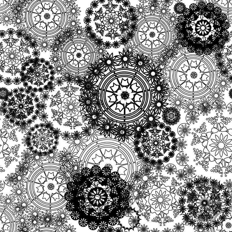 Dirigez le fond abstrait noir et blanc sans couture de modèle avec des napperons, cercles, mandalas illustration stock