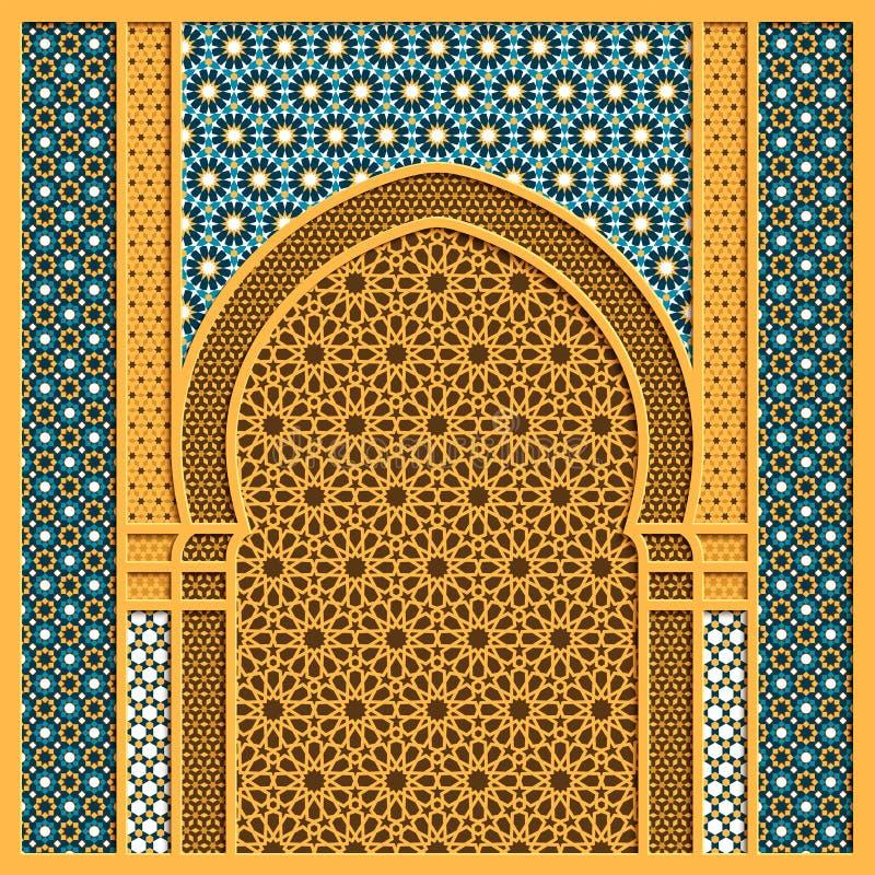 Dirigez le fond arabe avec le châssis de fenêtre traditionnel et les ornements arabes illustration libre de droits