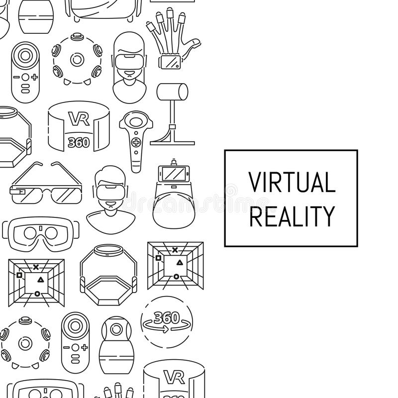 Dirigez le fond avec les éléments linéaires de réalité virtuelle de style et le placez pour le texte illustration libre de droits