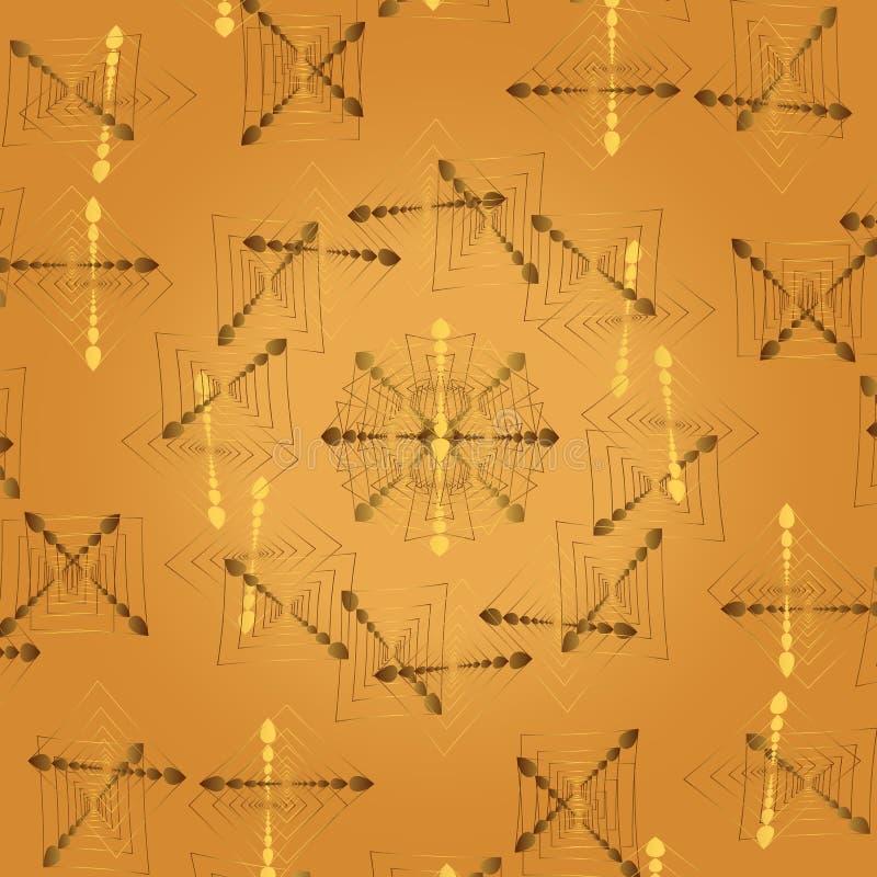 Dirigez le fond beige clair abstrait avec des modèles de fractale d'or et des éléments des coeurs illustration libre de droits
