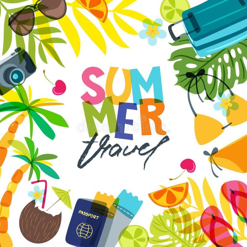 Dirigez le fond carré de bannière, d'affiche ou d'insecte pour le voyage, les vacances et le tourisme d'été illustration libre de droits