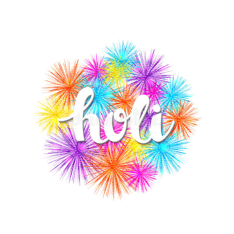 Dirigez le fond coloré de vacances avec le holi et les feux d'artifice tirés par la main de mot illustration de vecteur