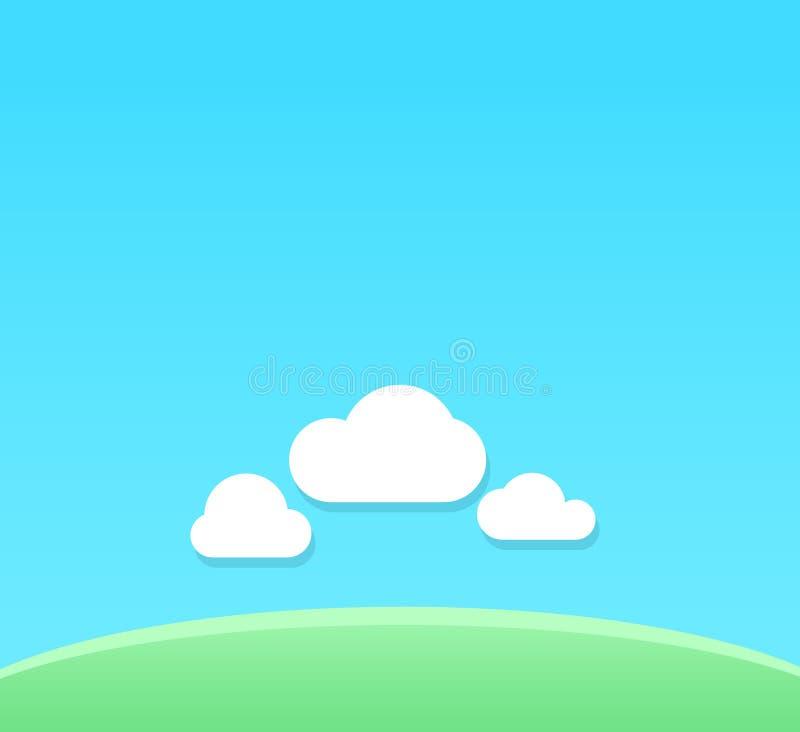 Dirigez le fond de bande dessinée du temps clair avec l'espace de copie - contexte avec le ciel bleu sous le champ vert illustration de vecteur