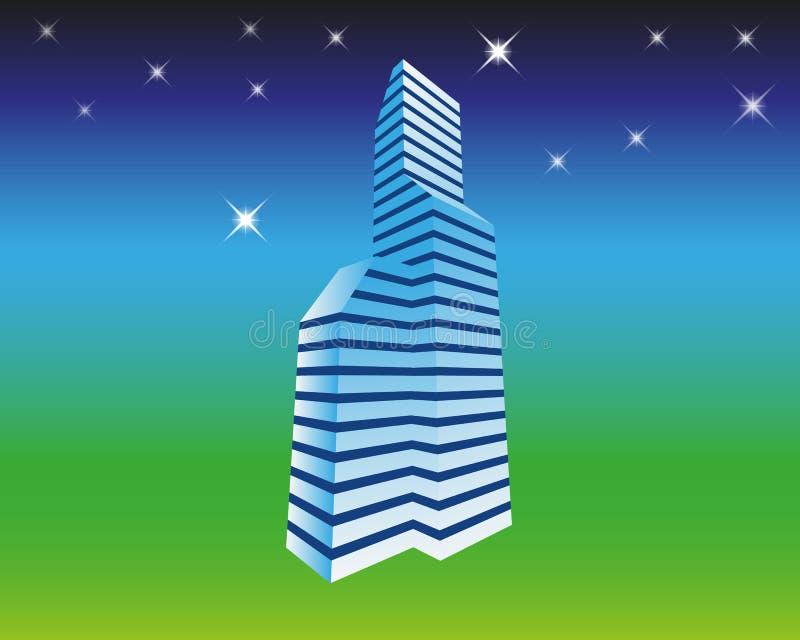 Dirigez le fond de concept avec la ville de nuit illumin?e avec les lumi?res rougeoyantes de n?on Paysage urbain futuriste dans d illustration libre de droits