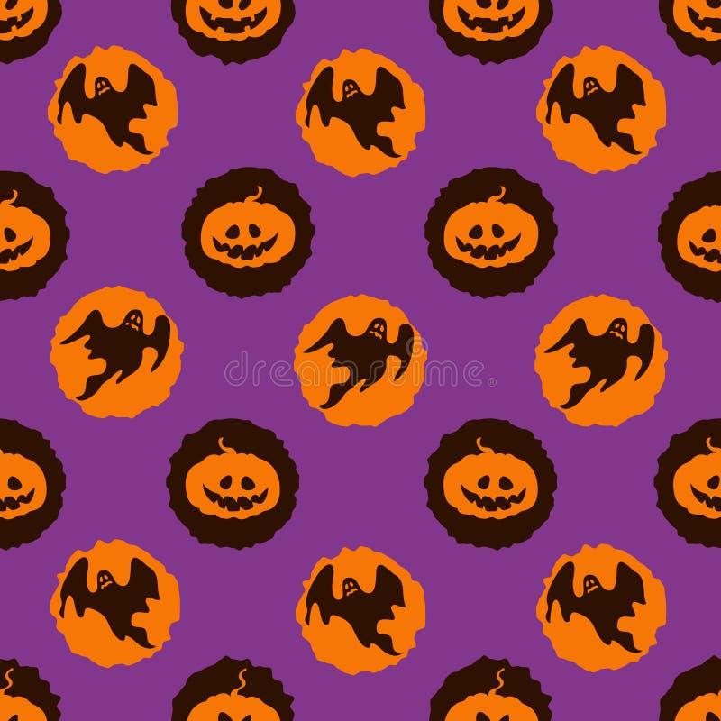 Dirigez le fond de Halloween de cercles avec des potirons et des fantômes illustration de vecteur