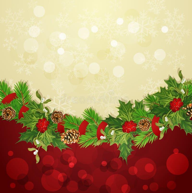 Dirigez le fond de vacances avec la guirlande de Noël illustration libre de droits