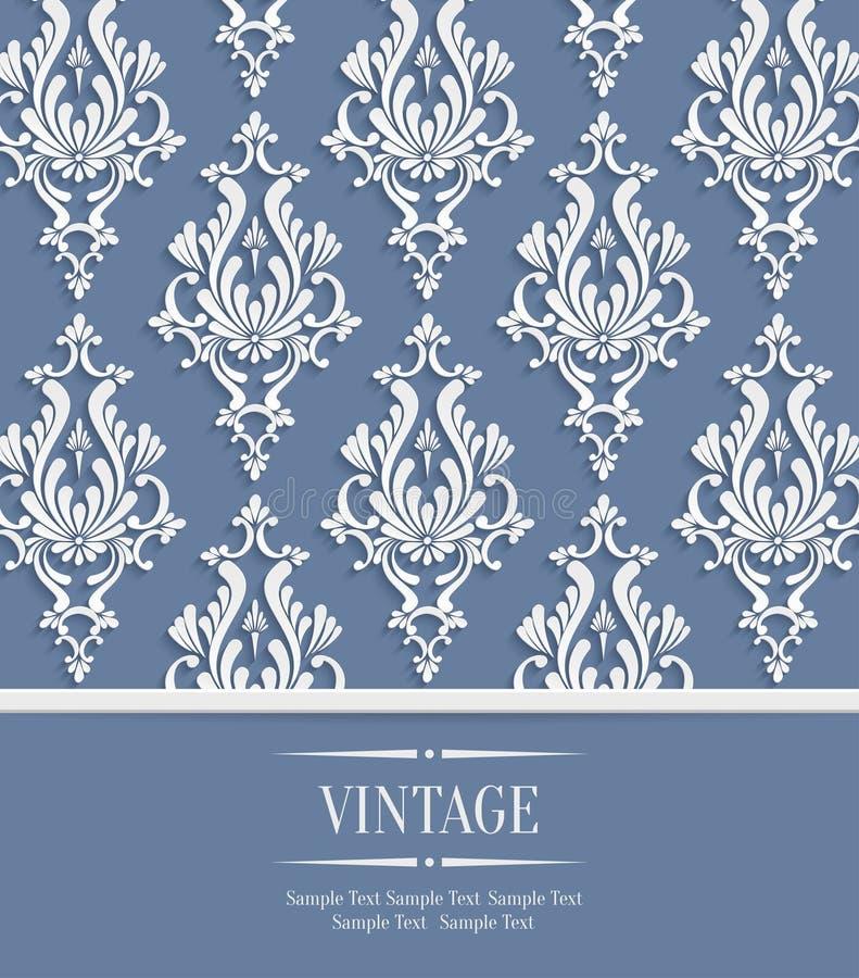 Dirigez le fond du vintage 3d pour la carte de salutation ou d'invitation avec le modèle floral de damassé illustration stock