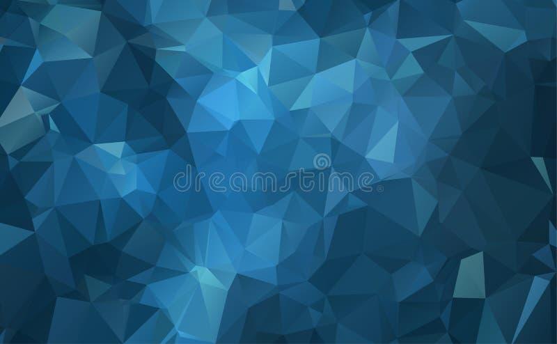 Dirigez le fond géométrique polygonal moderne abstrait de triangle de polygone Fond géométrique bleu-foncé de triangle illustration de vecteur
