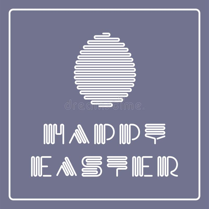 Dirigez le fond heureux de Pâques avec la police et l'oeuf élégants rayés Conception simple créative Carte de voeux de vacances,  illustration stock