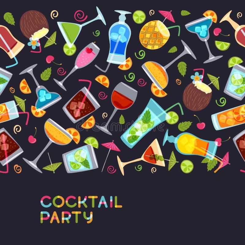 Dirigez le fond horizontal sans couture avec des cocktails, jus, verres de vin Illustration tirée par la main illustration stock