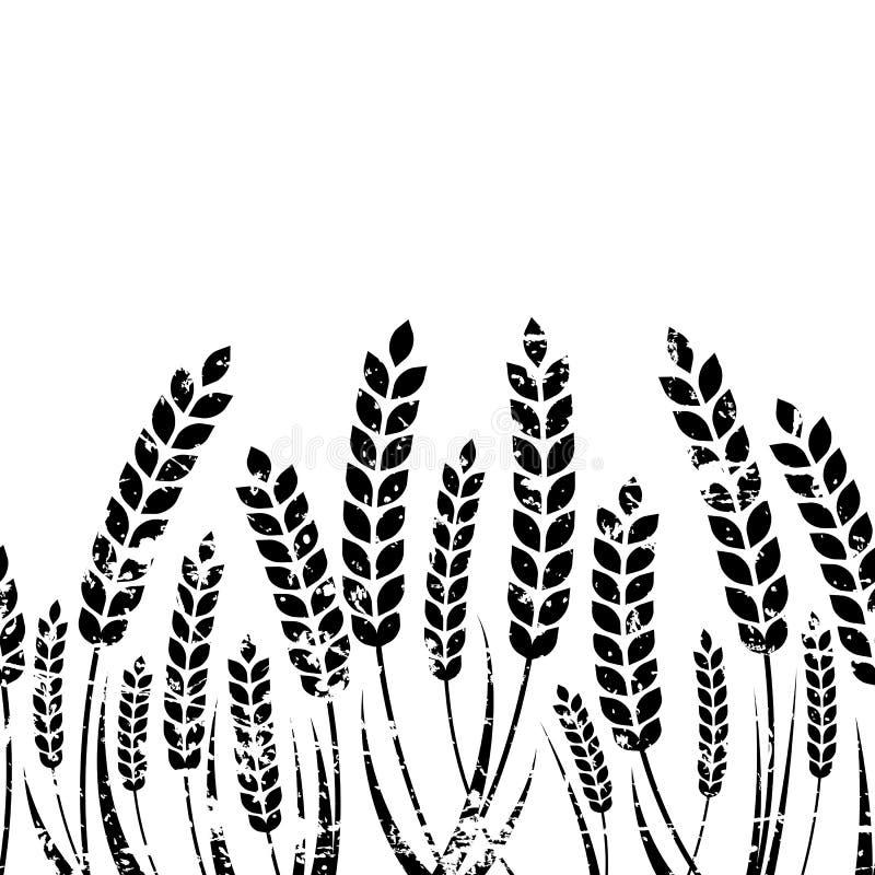Dirigez le fond horizontal sans couture avec l'oreille d'isolement du blé illustration de vecteur