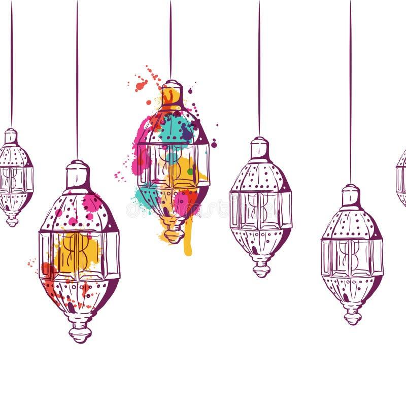 Dirigez le fond horizontal sans couture avec les lanternes tirées par la main d'aquarelle illustration de vecteur
