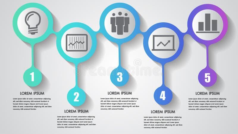 Dirigez le fond intégré de cercles de concept de construction d'éléments de chronologie d'étapes des affaires cinq d'infographics illustration de vecteur
