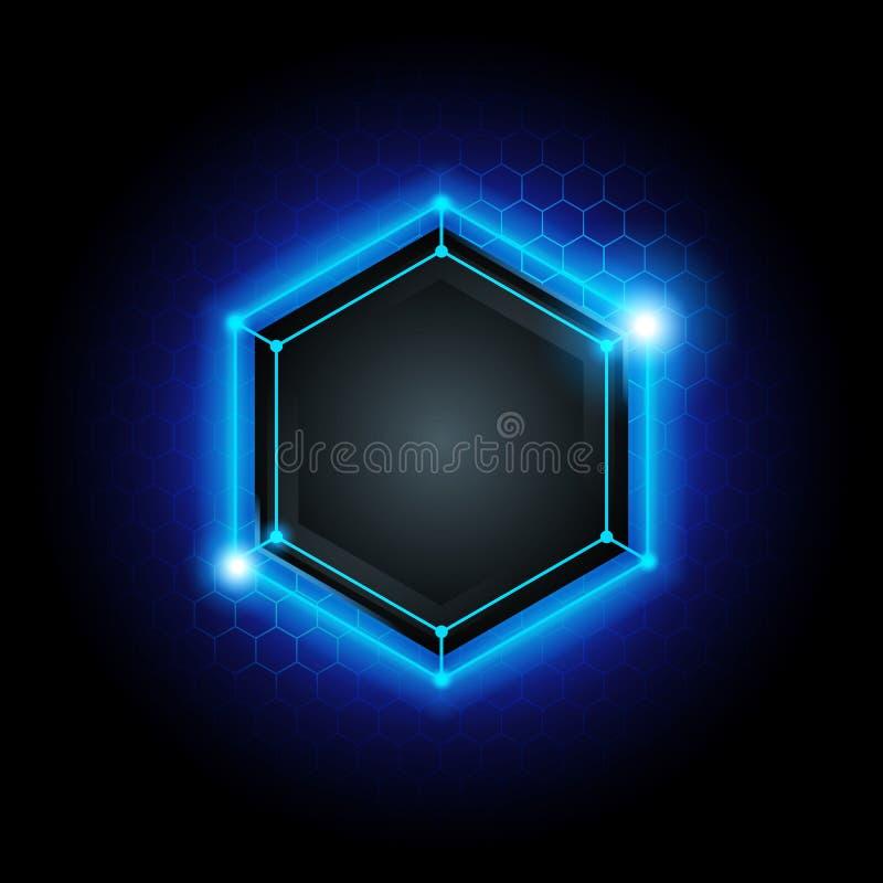 Dirigez le fond moderne abstrait de technologie de cyber en métal d'illustration avec le poly modèle d'hexagone et la lumière ble illustration de vecteur