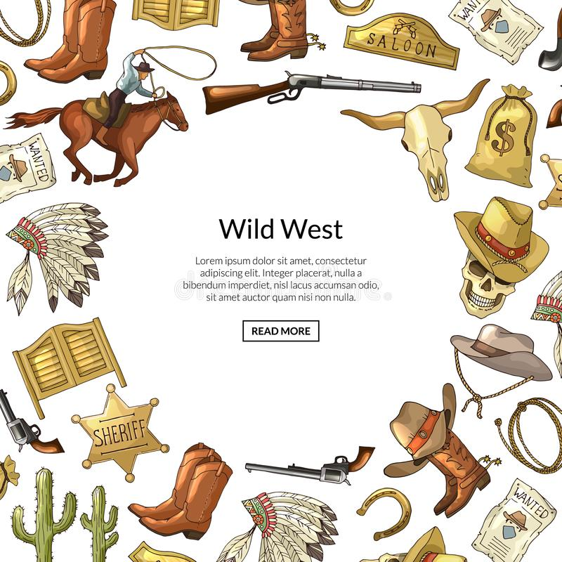 Dirigez le fond occidental sauvage tiré par la main d'éléments de cowboy avec l'endroit pour l'illustration des textes illustration de vecteur