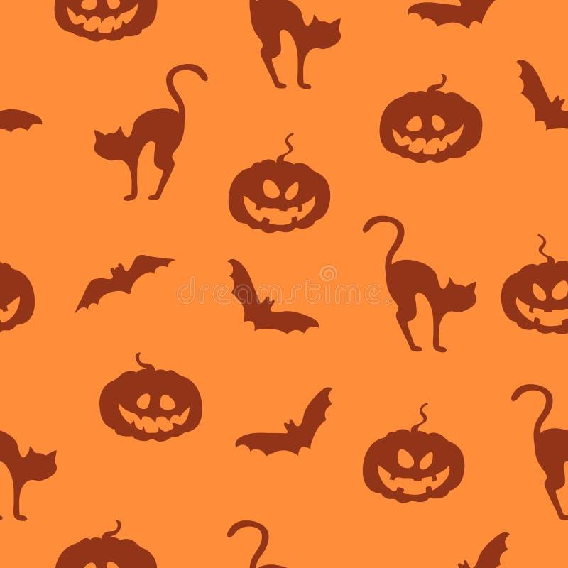 Dirigez le fond orange de Halloween avec des potirons, des battes et des chats illustration stock