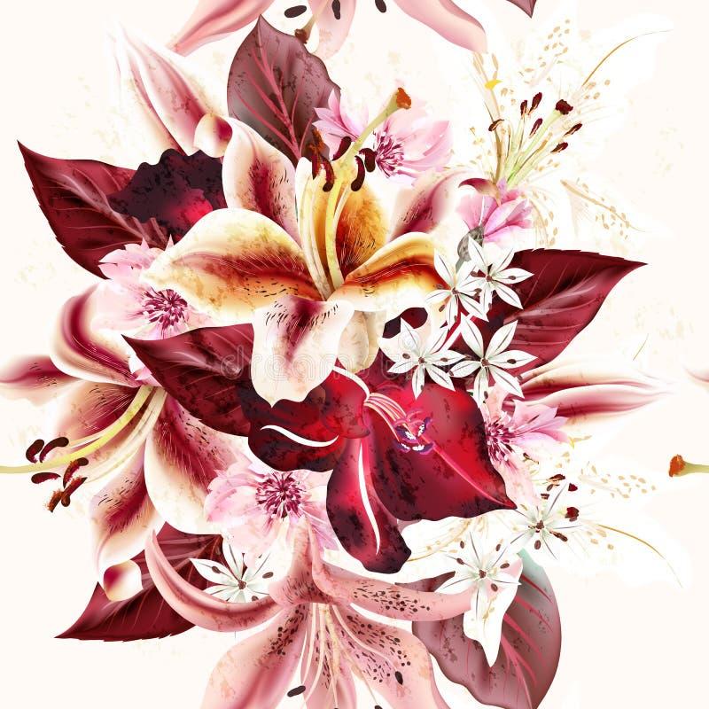 Dirigez le fond ou le modèle sans couture avec des fleurs de lis illustration de vecteur
