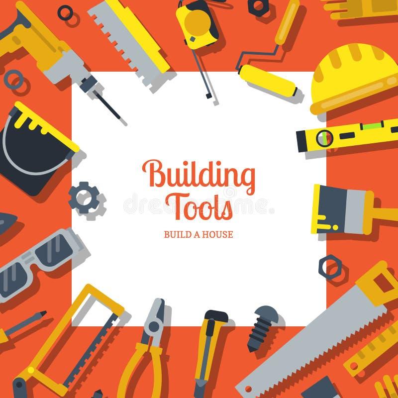 Dirigez le fond plat d'outils de construction avec l'endroit pour l'illustration des textes illustration libre de droits