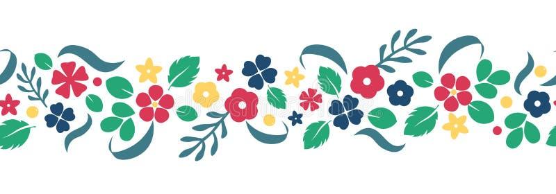 Dirigez le fond plat de fleurs et de baies, modèle créatif de couleur illustration de vecteur