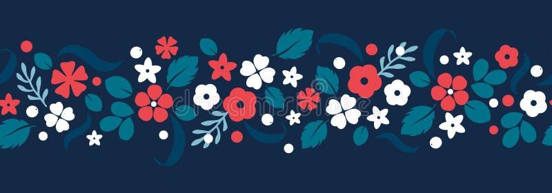 Dirigez le fond plat de fleurs et de baies, modèle créatif de couleur illustration libre de droits