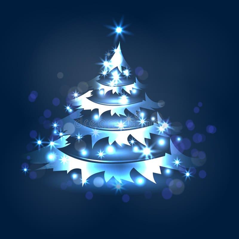 Dirigez le fond polychrome avec l'arbre de Noël bleu illustration libre de droits